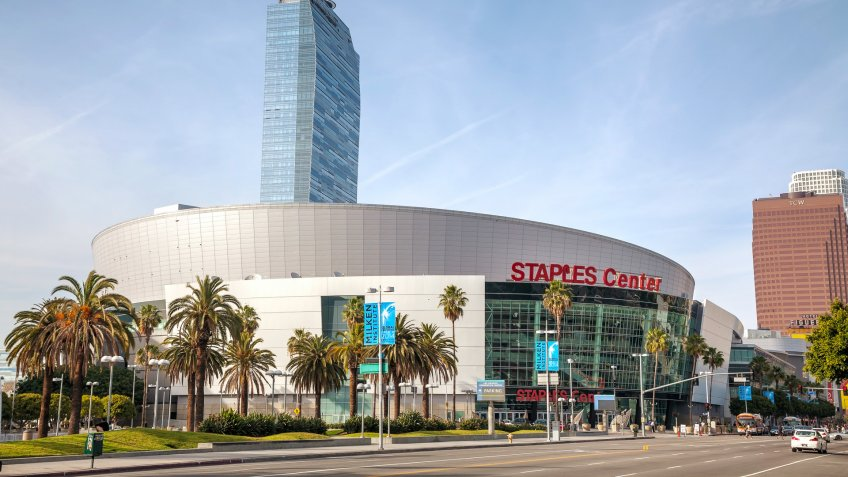 Los Angeles, USA - April 22, 2014: Staples Center building with people in Los Angeles, California.