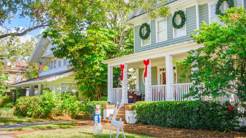 Tampa, USA - December 6, 2013: Large homes decorated during Christmas time in the Hyde Park neighborhood of Tampa, Florida, USA.