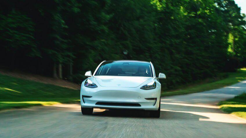 Tesla Model S car driving fast