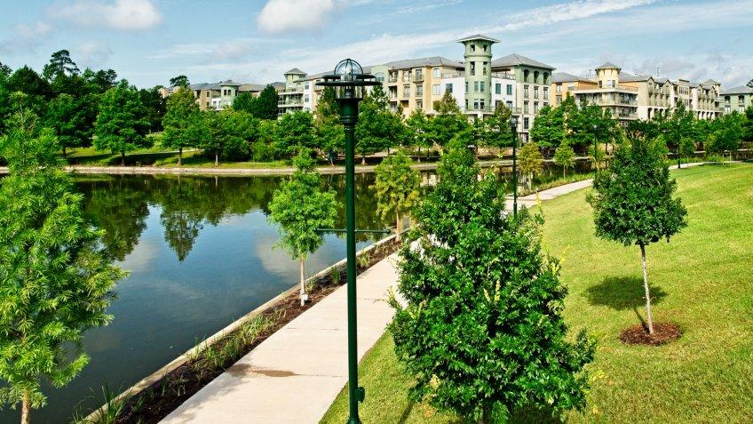 The Woodlands TX USA - May 22, 2018  -  Woodlands Walkway Along the Waterway.