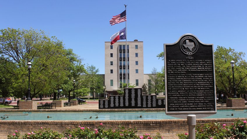 Tyler, TX - April 21, 2019: Smith County Courthouse with historical marker located in downtown Tyler, TX - Image.