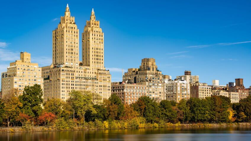 Upper West Side buildings and Central Park in Fall.