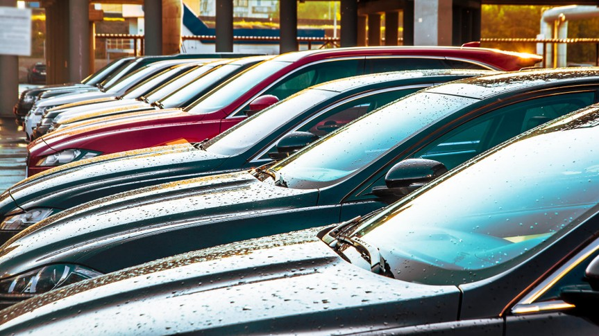 car dealership lot with full inventory
