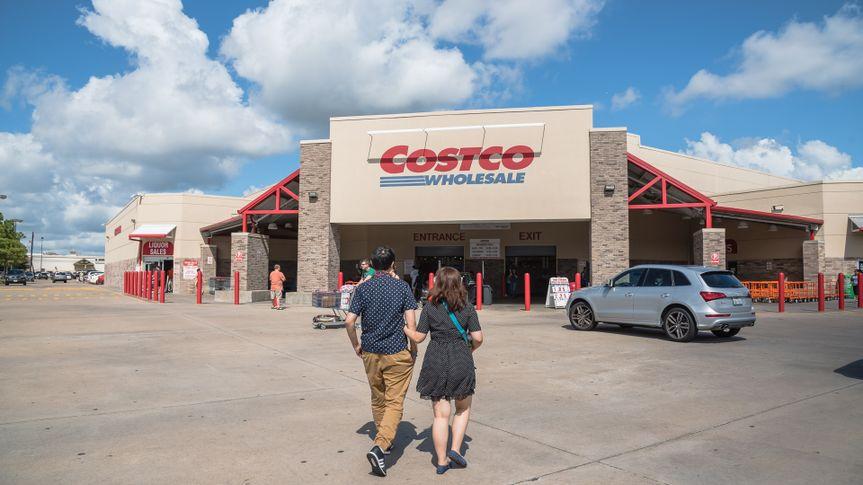 couple walking into Costco