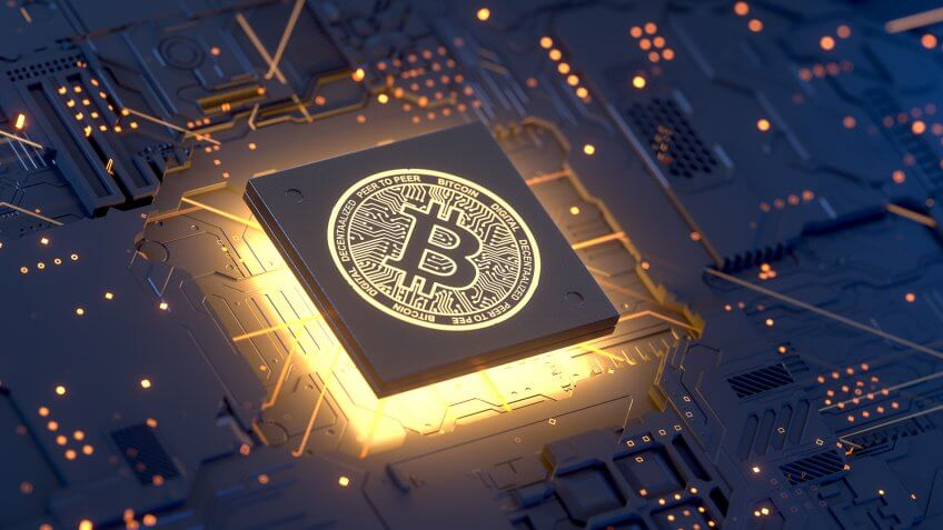 Bitcoin on motherboard,3d rendering,conceptual image.