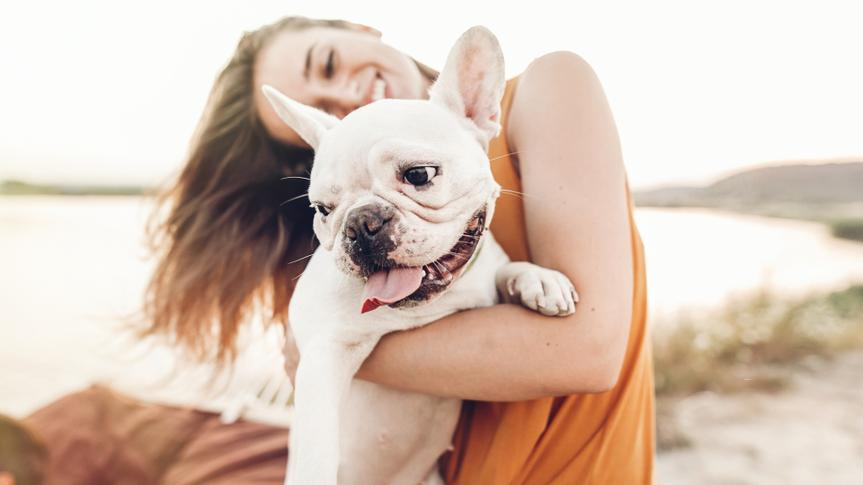 happy hipster woman playing with bulldog on the beach in sunset light, summer vacation.