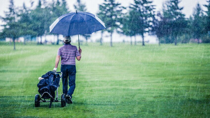 Golfer on a Rainy Day Leaving the Golf Course (the game is annulled because of the storm).
