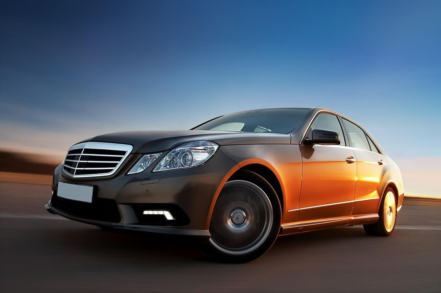 luxury Mercedes Benz driving fast