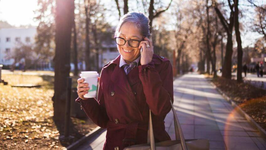 Close up of Businesswoman talking on the phone.