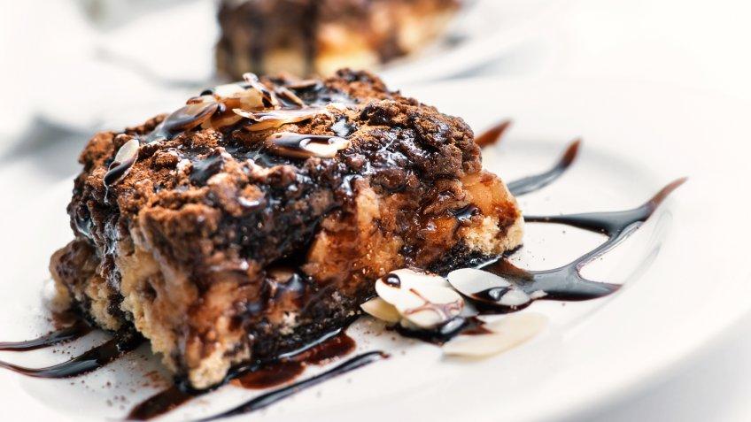 sliced chocolate almond cake