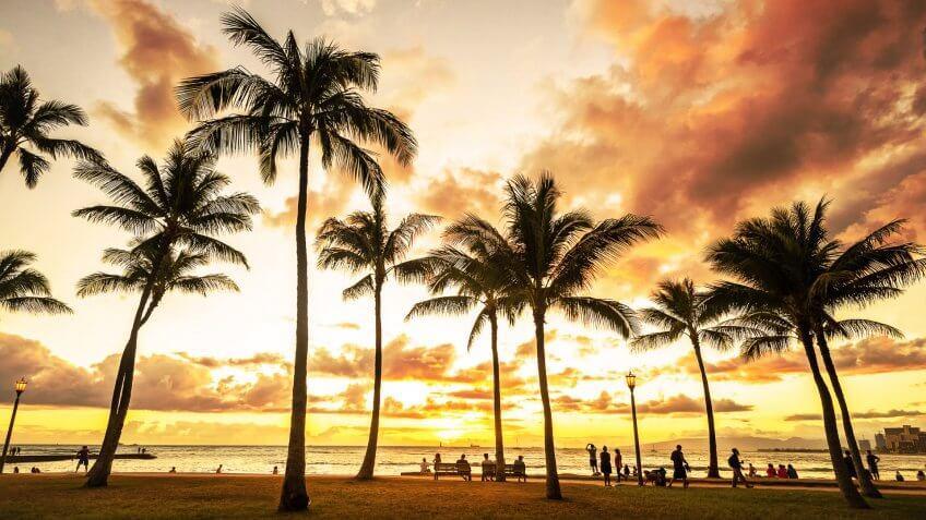 sunset in Waikiki Beach in Honolulu Hawaii