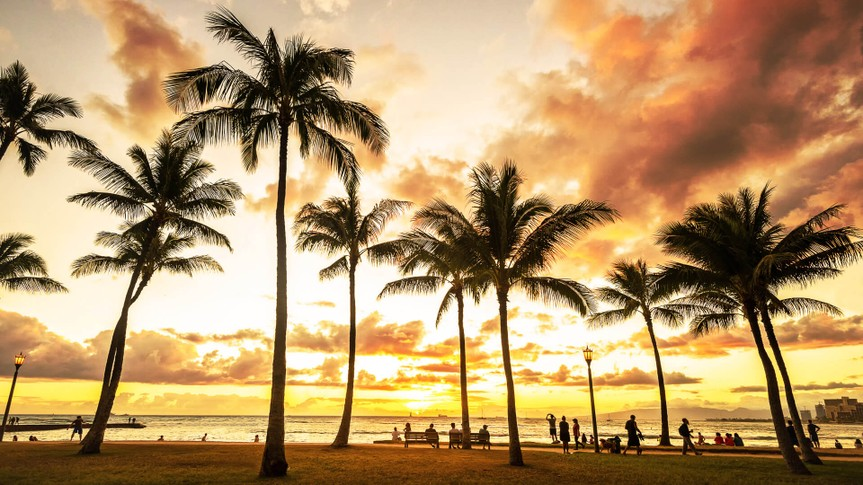 sunset in Waikiki Beach in Honolulu Hawaii