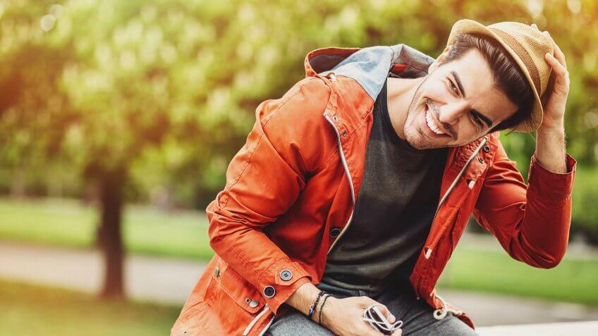 happy guy in park