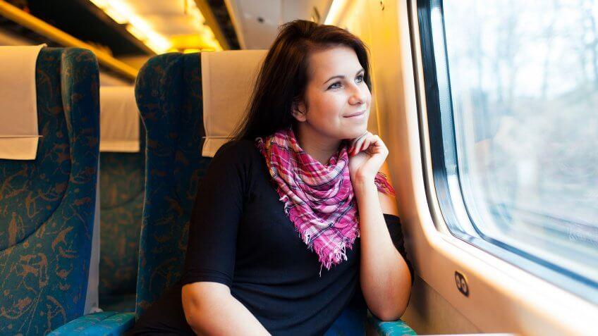 girl riding train