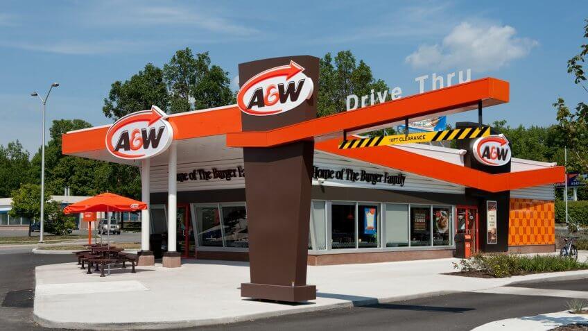 """Kanata, Canada aa August 24, 2012:  A new A&W restaurant, in the retro design, on Terry Fox Drive in Kanata, a suburb of Ottawa, Ontario, Canada."