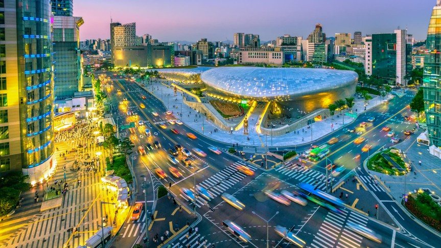 Aerial view of city Seoul at night, South Korea,