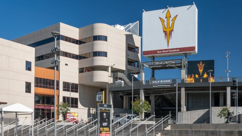 TEMPE, AZ/USA - APRIL 10, 2019: Frank Kush Sun Devil Stadium on the campus of Arizona State University.
