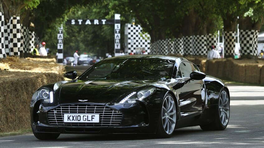 GOODWOOD, UNITED KINGDOM - JULY 3: Aston Martin One 77 drives up the hill at the Goodwood Festival of Speed in the United Kingdom on July 3, 2010 in Goodwood, UK.