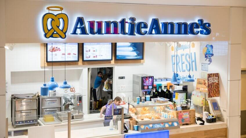 Philadelphia, Pennsylvania, May 21 2018: Auntie Anne's is Original Pretzel and lemonade.