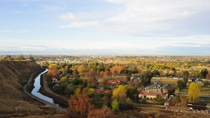 Northeast Bakersfield, California, exhibits fall colors even in the semitropic region.