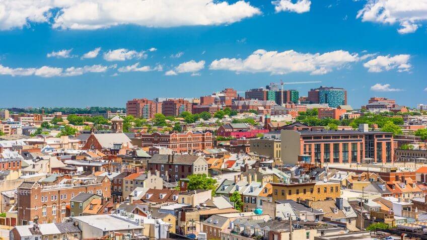 Baltimore, Maryland, USA cityscape overlooking little italy and neighborhoods.