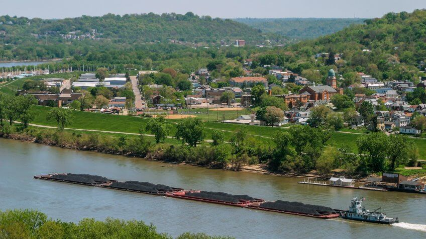 A Coal Barge On The Ohio River At Bellevue And Dayton Kentucky Across From Cincinnati Ohio USA.