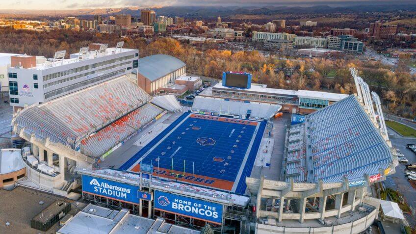 Boise, Idaho USA: November 24, 2017 - View of an Idaho college football field and city skyline.