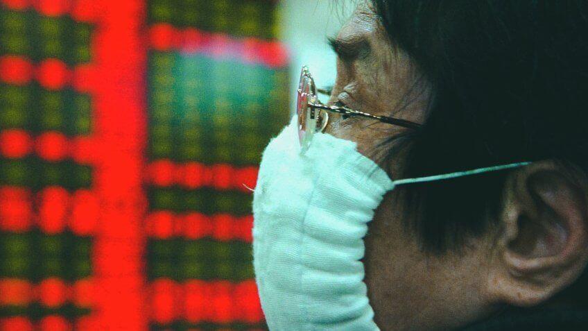 FLU MASKS ON THE FLOOR OF THE HONG KONG STOCK EXCHANGEFLU VIRUS GRIPS HONG KONG, CHINA - 02 APR 2003.