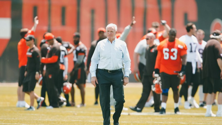 Cleveland Browns owner Jimmy Haslam walks off the field during the team's organized team activity at its NFL football training facility, in Berea, OhioBrowns Football, Berea, USA - 31 May 2017.