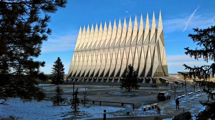 COLORADO SPRINGS, CO - DECEMBER 13, 2015: United States Air Force Academy Cadet Chapel.
