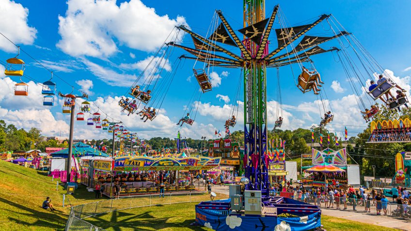 CUMMING, GEORGIA - October 7, 2018: County and local fairs and carnivals are still some of the best values in family entertainment.