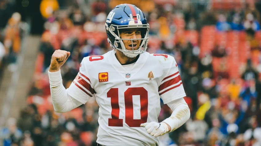 New York Giants quarterback Eli Manning (10) celebrates a touchdown during an NFL football game against the Washington Redskins, in Landover, MdGiants Redskins Football, Landover, USA - 09 Dec 2018.