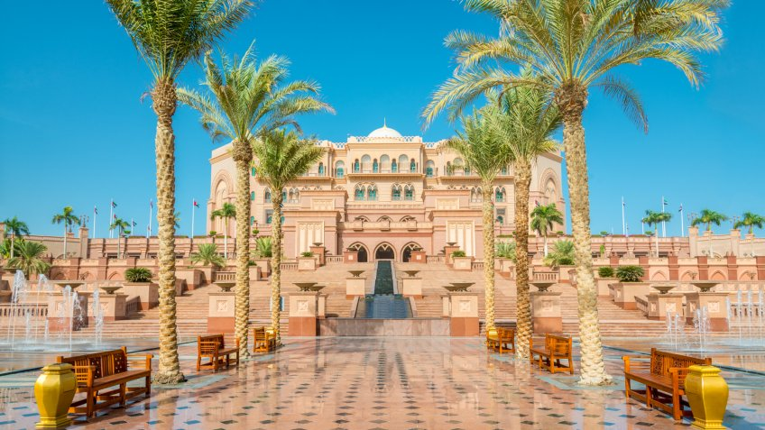 Walkway to the Emirates Palace in Abu Dhabi, United Arab Emirates.