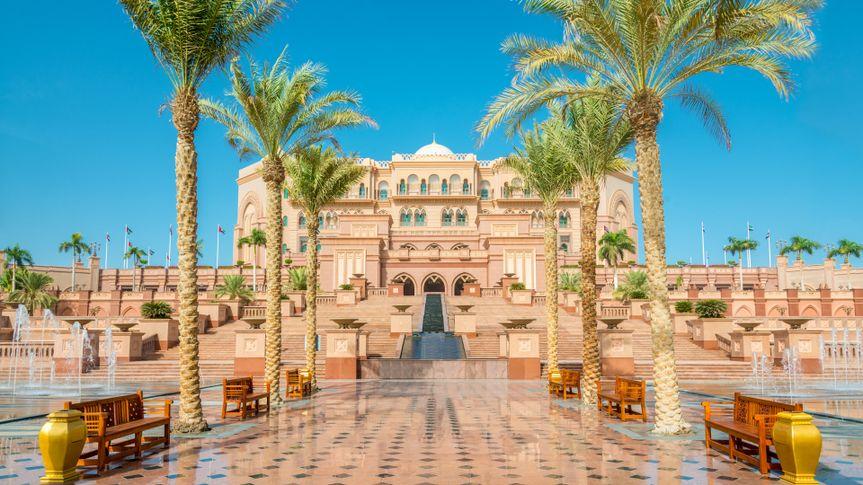 Walkway to the Emirates Palace in Abu Dhabi, United Arab Emirates.