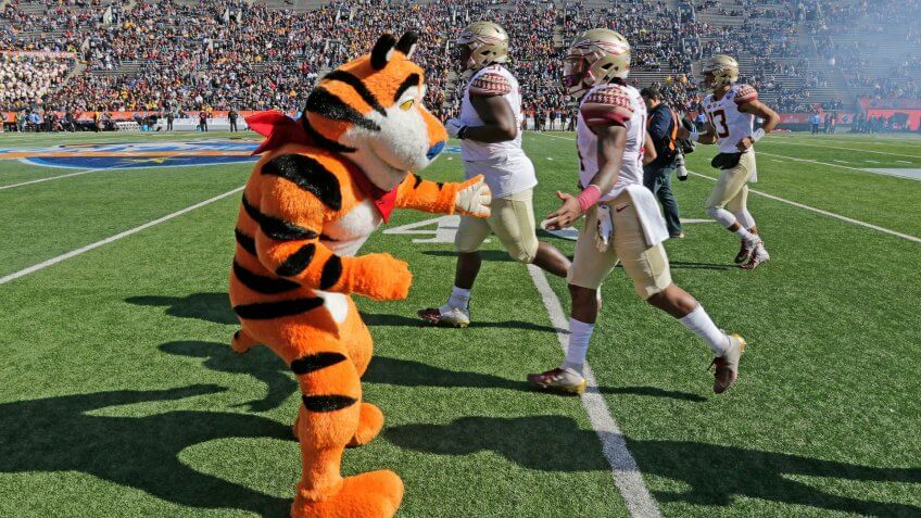 Mandatory Credit: Photo by Ruben R Ramirez/AP/Shutterstock (10515980a)Tony the Tiger cheers football players ahead of the Florida State Seminoles and Arizona State Sun Devils matchup, in El Paso, Texas.