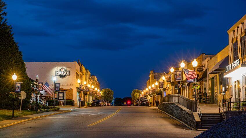 FORT MILL, SOUTH CAROLINA/UNITED STATES – MAY 31, 2019: Main Street in historic downtown Fort Mill, South Carolina at night.