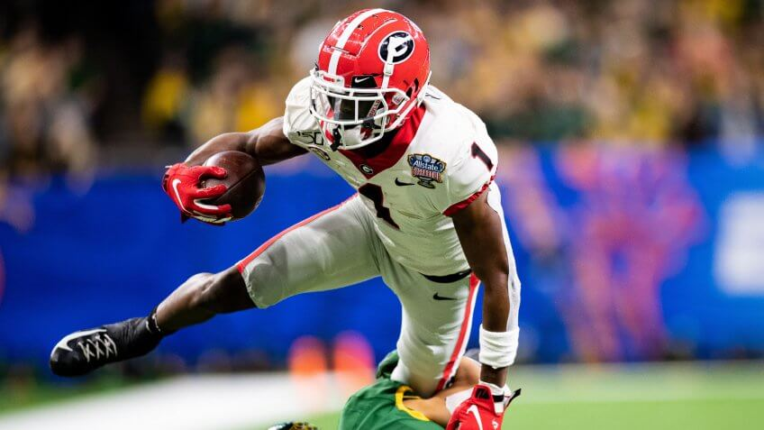 Mandatory Credit: Photo by Jacob Kupferman/CSM/Shutterstock (10516472p)Georgia Bulldogs wide receiver George Pickens (1) during the NCAA College Football Sugar Bowl game between the Georgia Bulldogs and the Baylor Bears at Mercedes-Benz Superdome in New Orleans, LouisianaNCAA Football Allstate Sugar Bowl Georgia vs Baylor, New Orleans, USA - 01 Jan 2020.