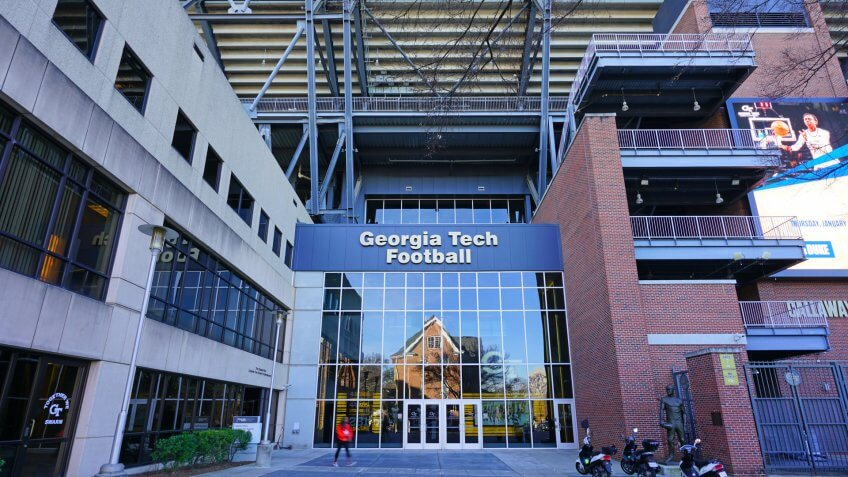 ATLANTA, GA -6 JAN 2019- View of the Bobby Dodd Stadium at Historic Grant Field, a football stadium home of the Yellow Jackets, on the campus of the Georgia Institute of Technology (Georgia Tech).