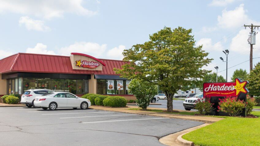 Newton, NC, USA-9/2/18: A Hardee's fast food restaurant, one of over 3800 in the chain.