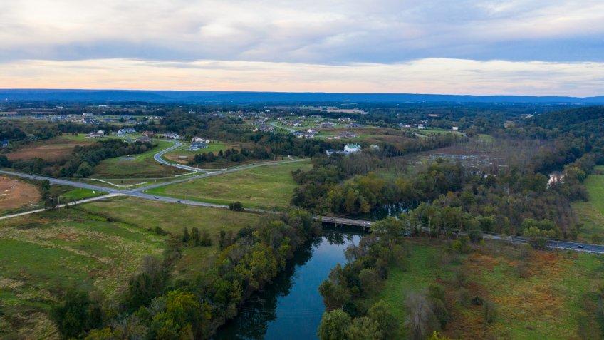 Hershey Pennsylvania USA Drone Aerial View Swatara Creek Farm Land.
