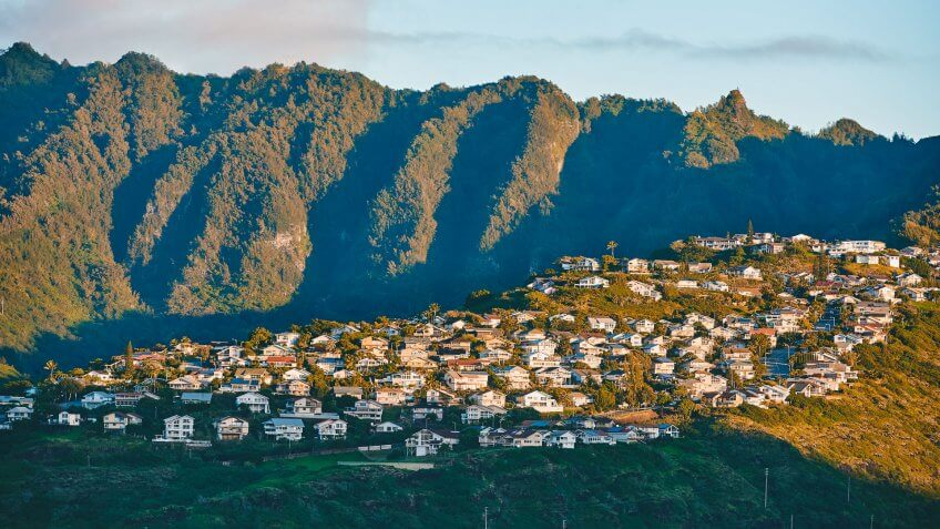 Kaneohe town and mountain range at sunset, Hawaii, USA.