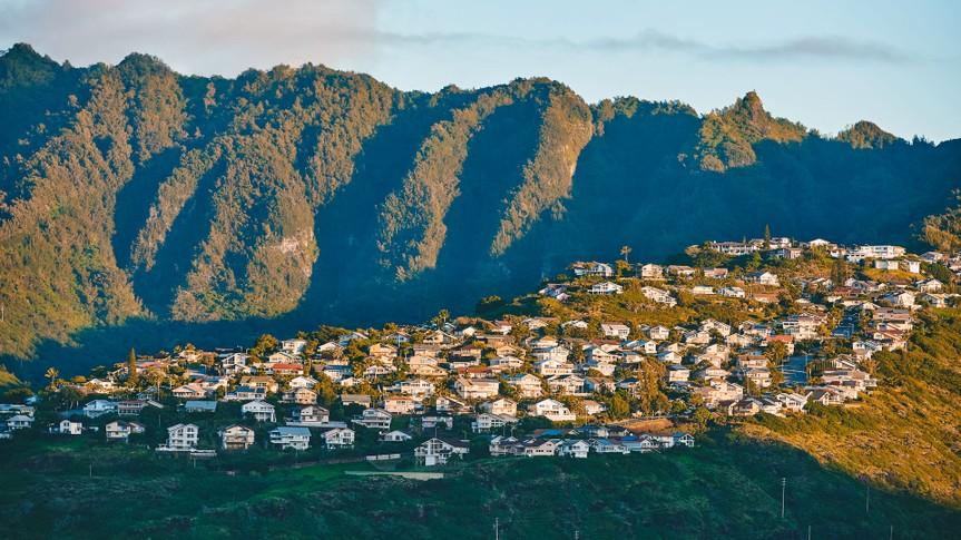 Kaneohe town and mountain range at sunset, Hawaii, USA.
