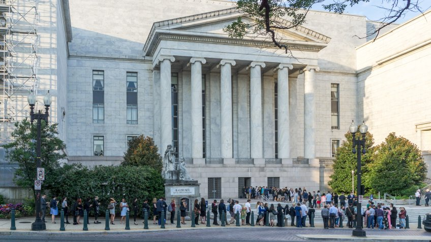 Washington,DC / USA - July 24, 2019: visitors line up early to get into the Mueller hearing at the House Judiciary Committee.