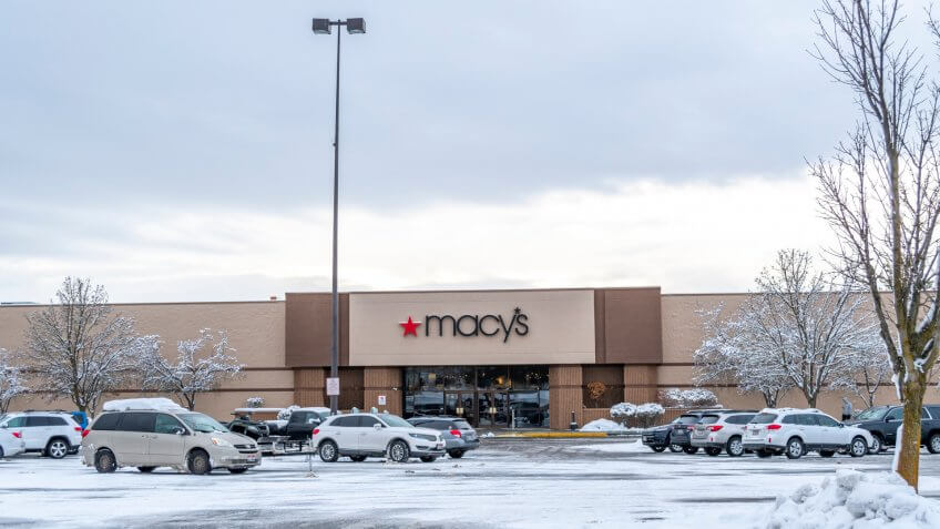 Coeur d'Alene, Idaho, USA - January 14 2019: A Macy's store and parking lot in winter in the Pacific Northwest still open after company restructuring.