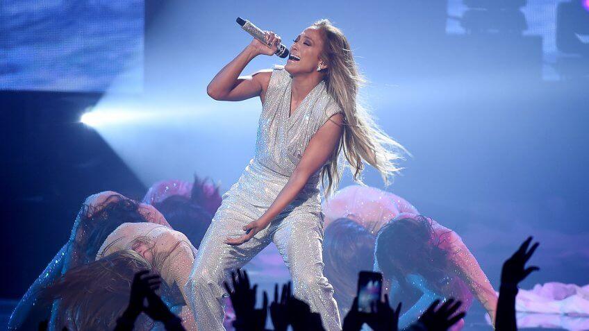 Jennifer Lopez performing at American Music Awards