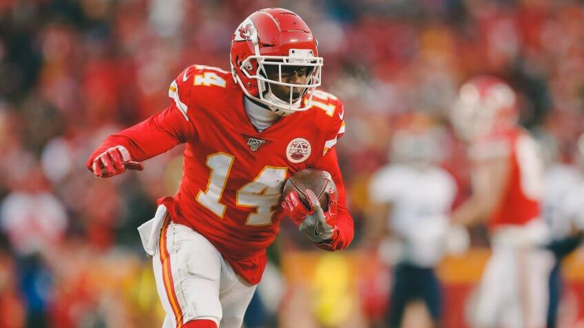 Kansas City Chiefs' Sammy Watkins catches a touchdown pass during the second half of the NFL AFC Championship football game against the Tennessee Titans, in Kansas City, MOAFC Championship Titans Chiefs Football, Kansas City, USA - 19 Jan 2020.
