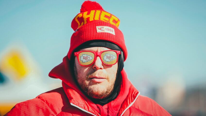 A fan before the NFL AFC Championship football game between the Kansas City Chiefs and the Tennessee Titans, in Kansas City, MOAFC Championship Titans Chiefs Football, Kansas City, USA - 19 Jan 2020.