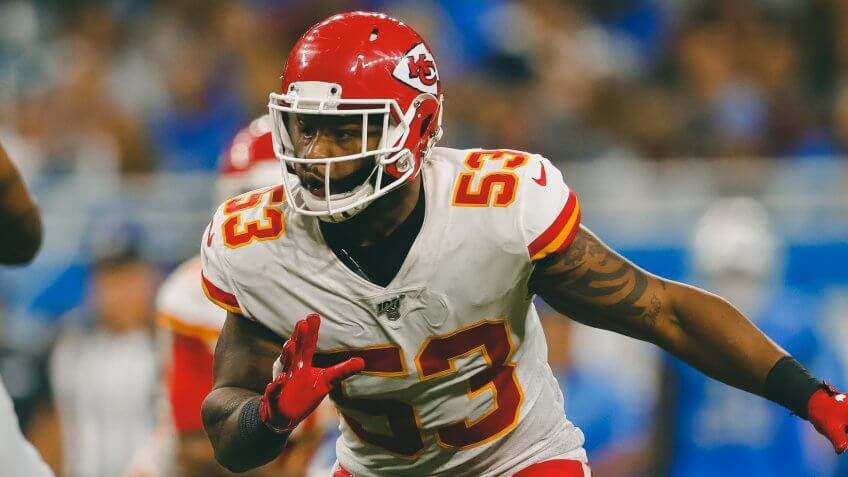 Kansas City Chiefs inside linebacker Anthony Hitchens (53) plays against the Detroit Lions during an NFL football game in DetroitChiefs Lions Football, Detroit, USA - 29 Sep 2019.