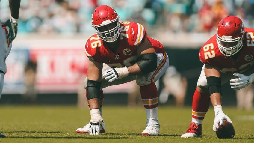 Kansas City Chiefs offensive guard Laurent Duvernay-Tardif (76) in a three-point stance on the line of scrimmage during an NFL football game against the Jacksonville Jaguars, in Jacksonville, Fla.