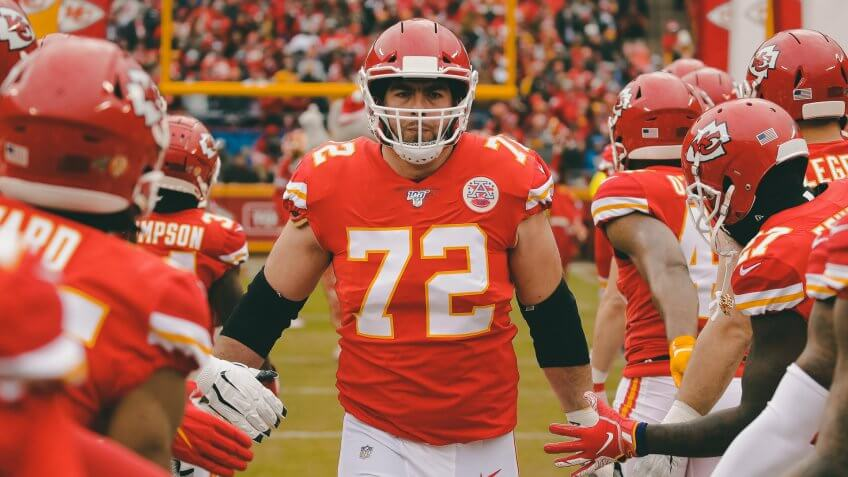 Kansas City Chiefs offensive tackle Eric Fisher (72) runs onto the field before an NFL football game against the Los Angeles Chargers, in Kansas City, MoChargers Chiefs Football, Kansas City, USA - 29 Dec 2019.